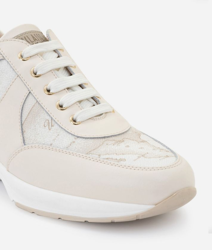 Geo Crossing Sneaker in Geo White fabric and leather
