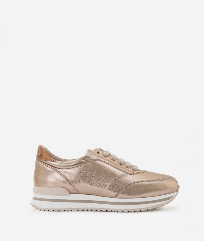 New Geo Crossing Sneaker in laminated fabric Nude