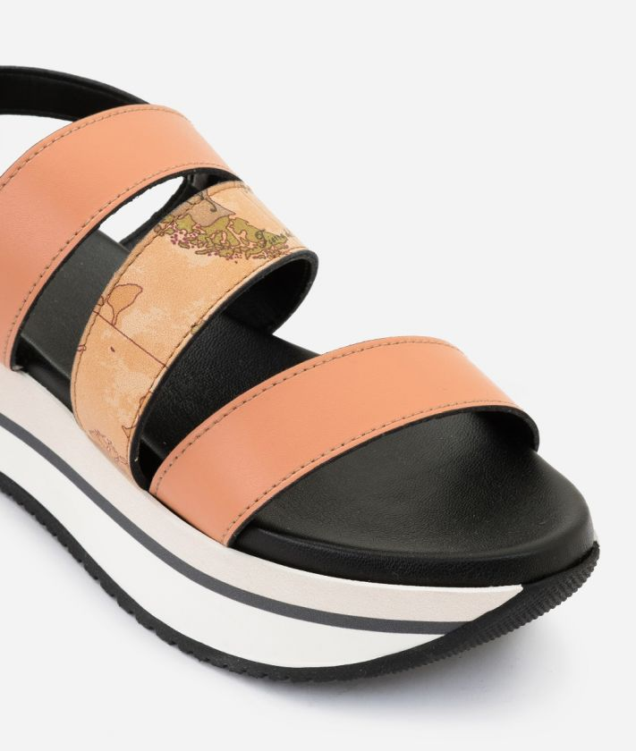 Sandal in smooth cowhide leather Orange