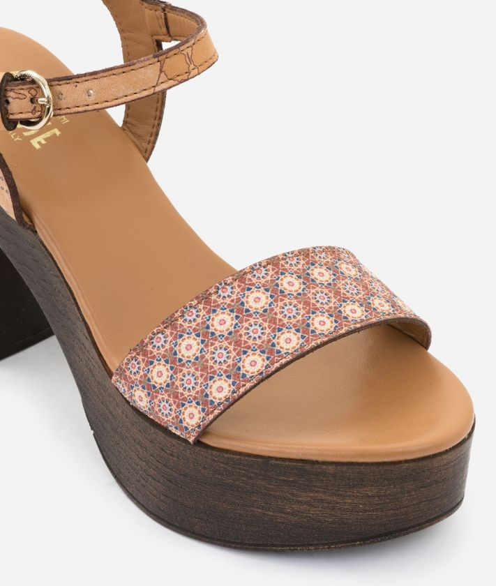 Sandal in Mosaic print fabric Brown