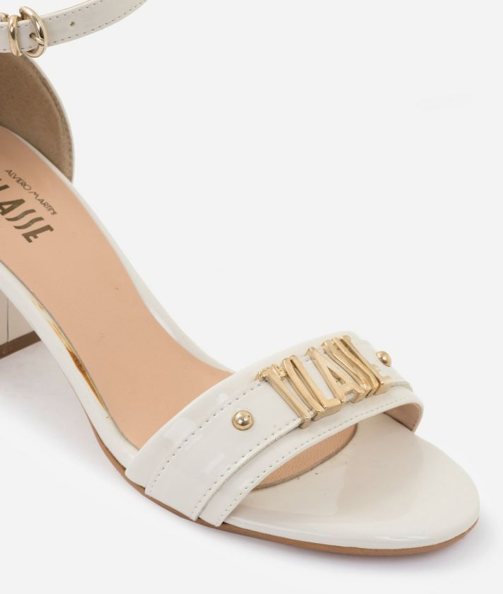 Sandal in eco-patent fabric White+