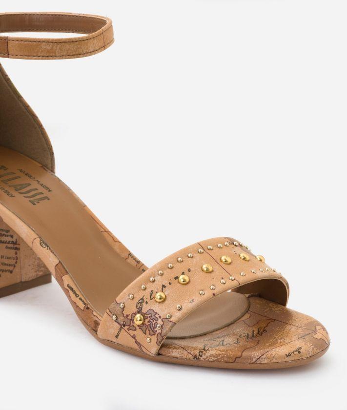 Sandal in Geo Classic print nappa