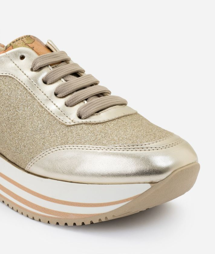 Sneaker in glittered fabric Gold