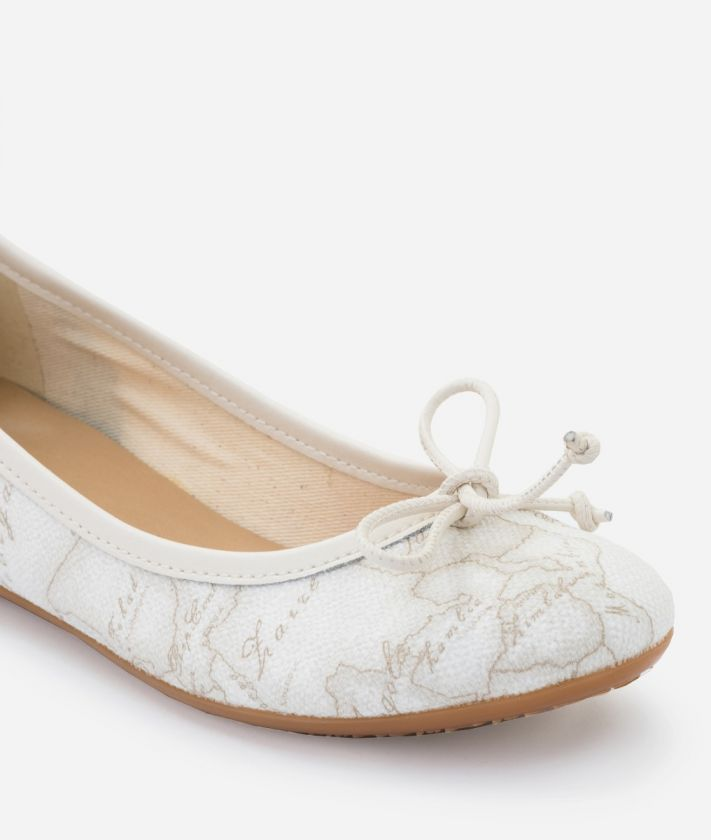 Ballet flats in Geo White print fabric