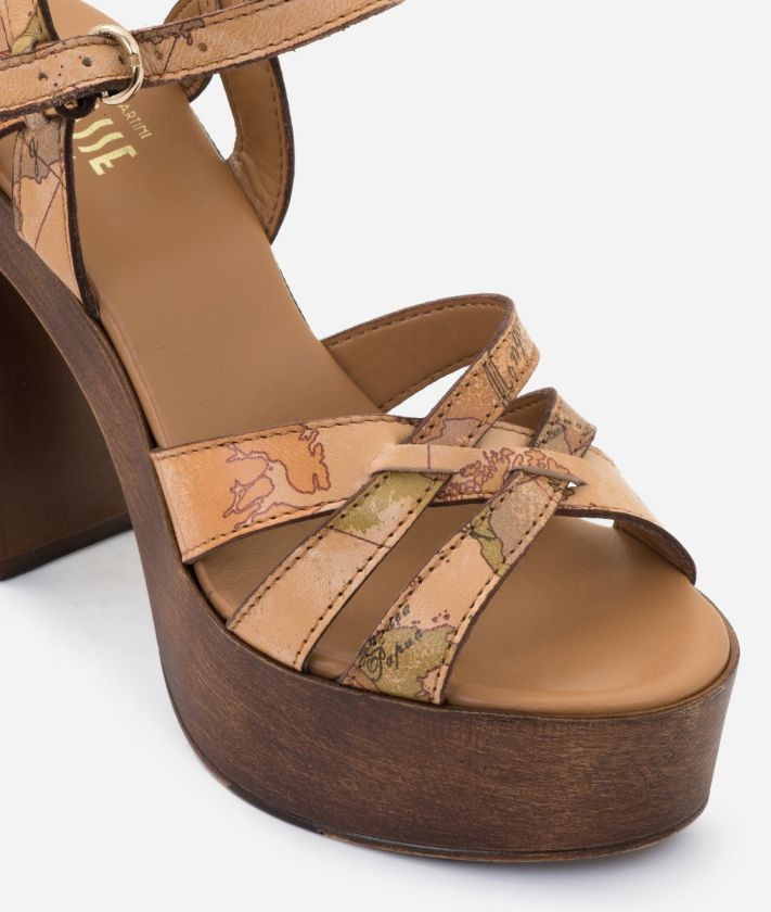 High-heel sandal in Geo Classic print nappa