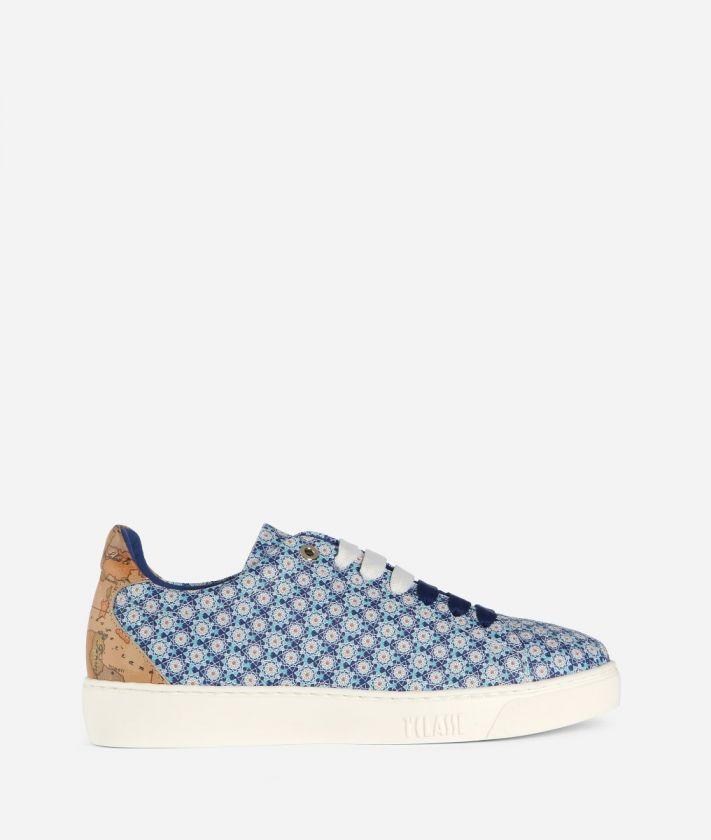 Sneaker with Mosaic print Blue