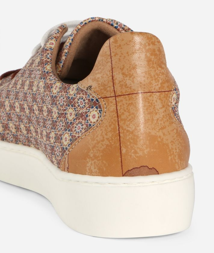 Sneaker with Mosaic print Brown