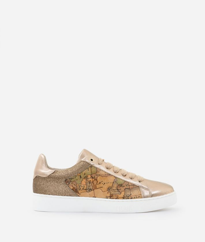 Sneakers in laminated nappa and glittered fabric Nude