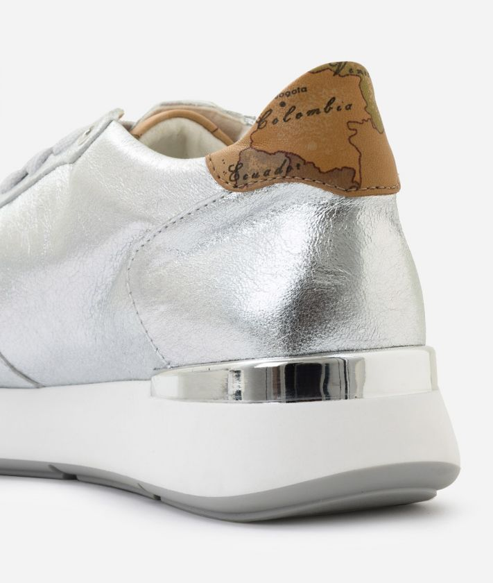 Sneaker in laminated nappa Silver