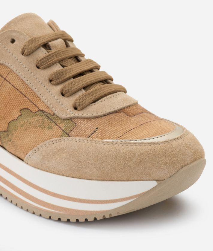 Sneaker in Geo Classic print nappa