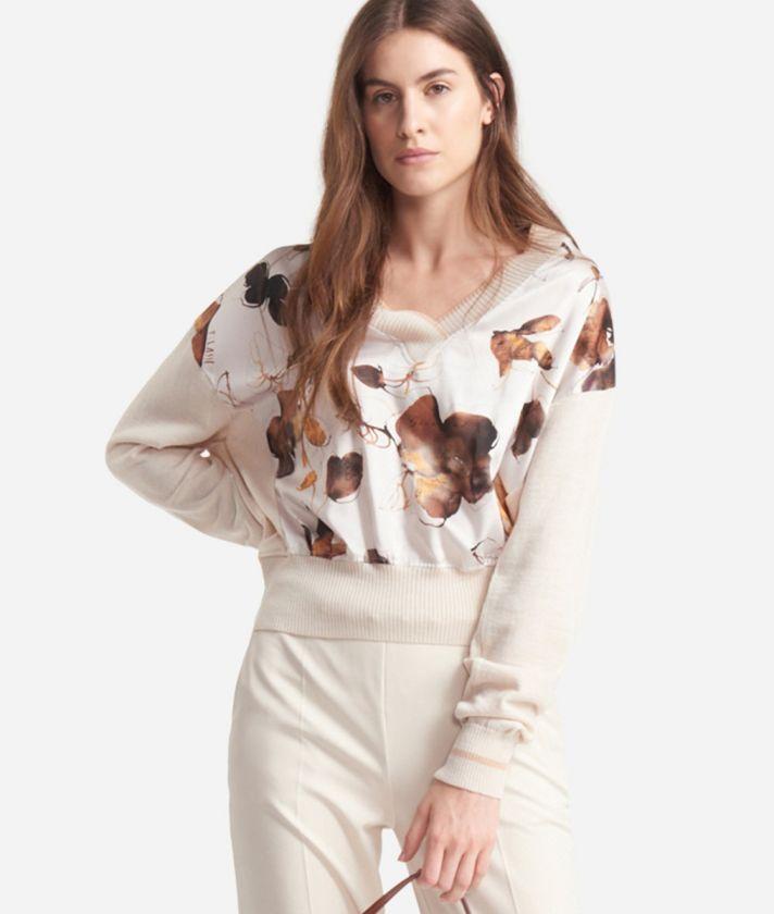Pull in misto lana con scollo a V Bianco