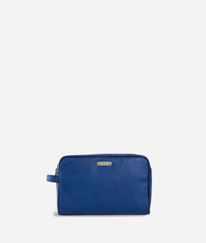 Beauty case in tessuto Geo blu