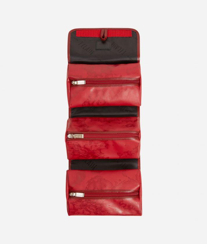 Travel organiser in red Geo fabric