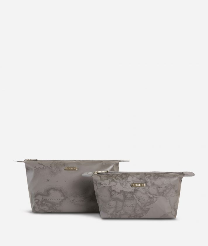 Medium-small make-up bag set in asphalt-grey Geo fabric
