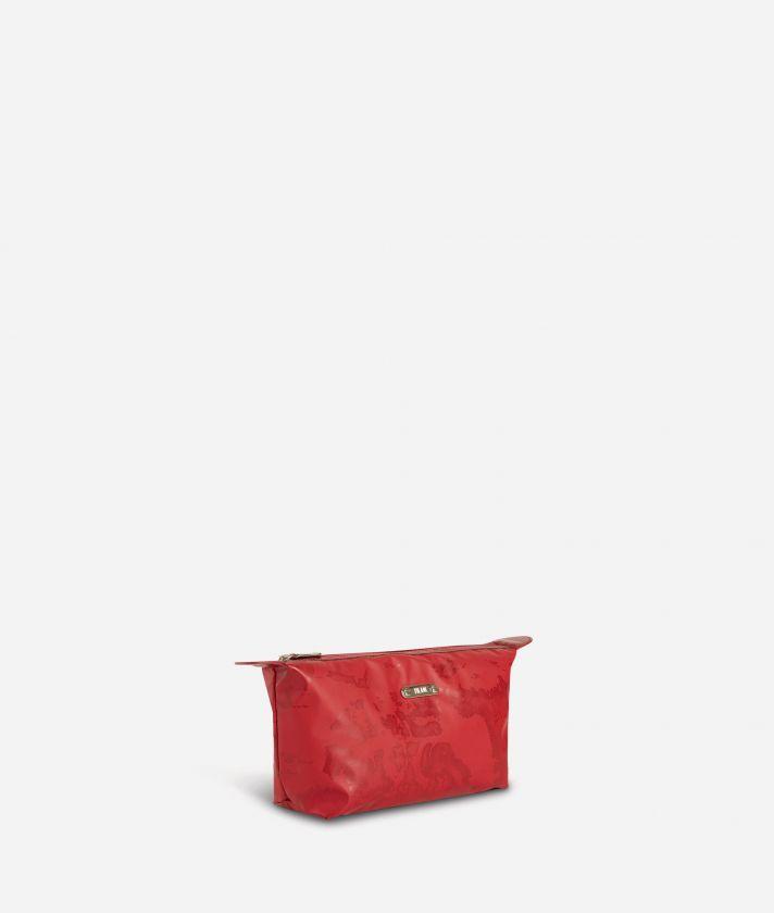 Medium-small make-up bag set in red Geo fabric