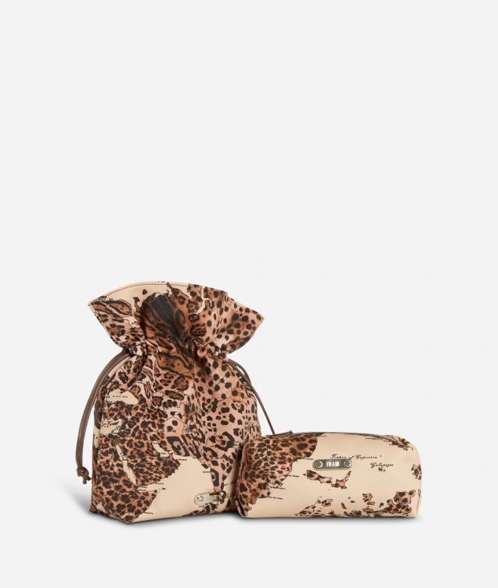 Set pochette piccola e beauty in tessuto Geo animalier