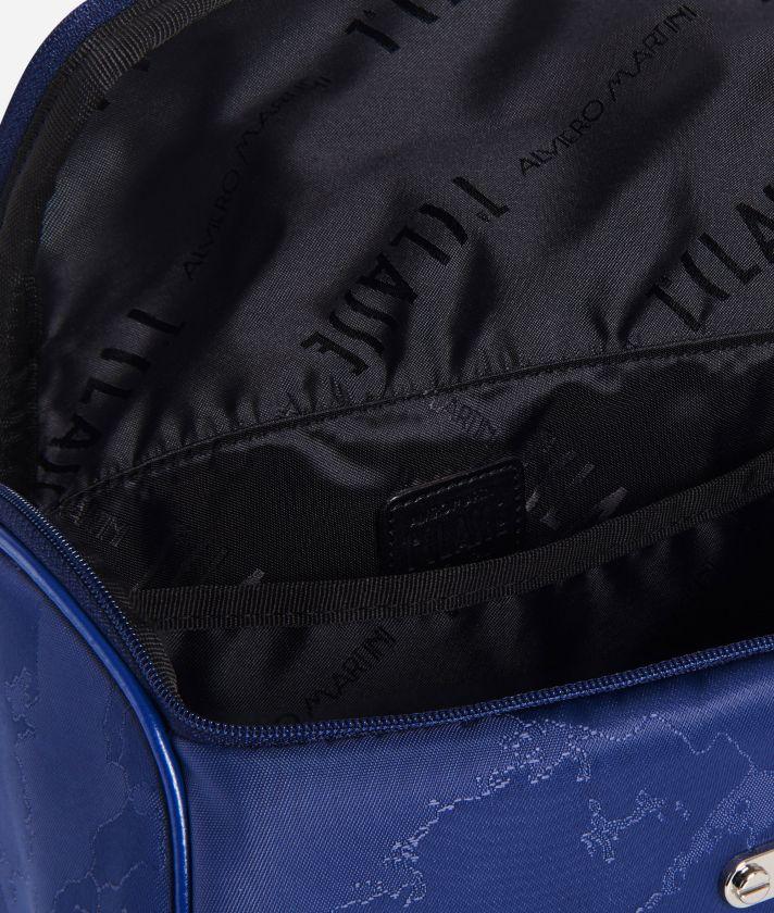 Beauty case con manico in tessuto Geo blu