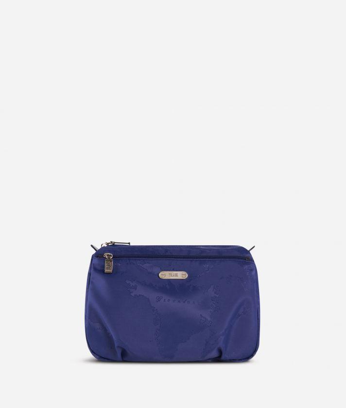 Beauty case grande in tessuto Geo blu