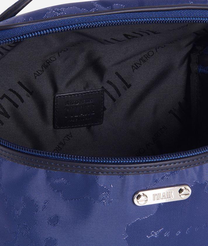 Beauty case a bauletto in tessuto Geo blu