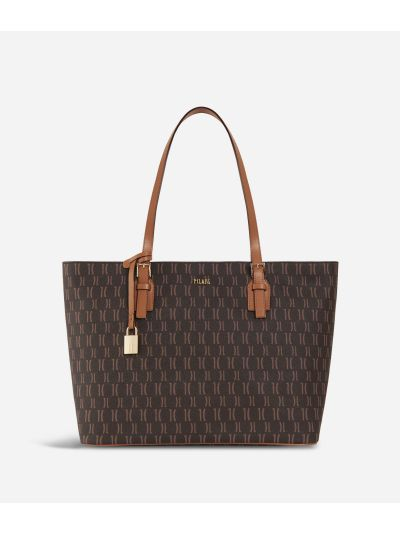 Monogram Big Shopping Bag Dark Buff