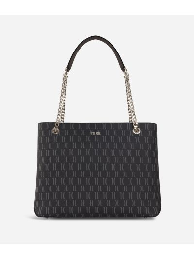 Monogram Shoulder bag with chain Black
