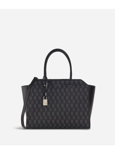 Monogram Hand bag with shoulder strap Black