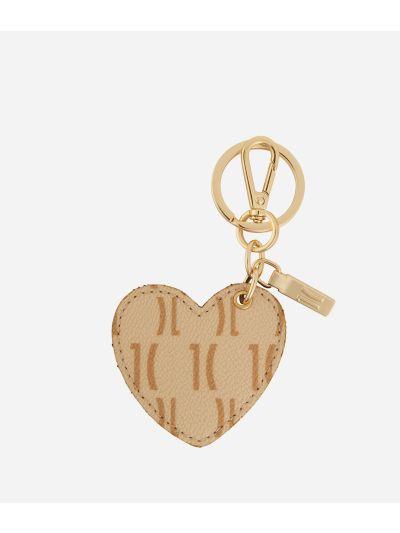 Monogram Heart-shaped Keyring Cream