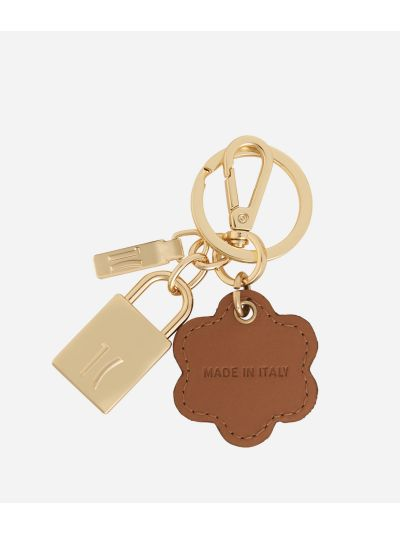 Monogram Flower-shaped Keyring Dark Buff