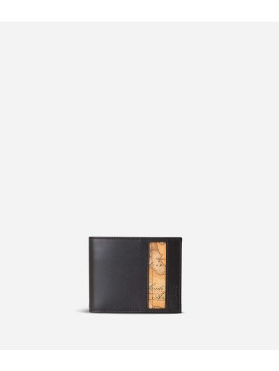 Small leather wallet Geo Classic fabric trims