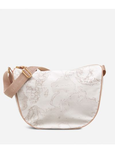 Geo Soft White Medium half-moon handbag