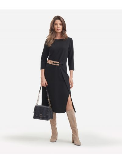 Asymmetrical dress in stretch fabric