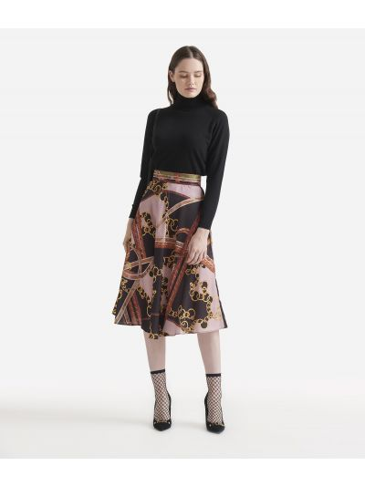 Twill full skirt with Geo intrecci print