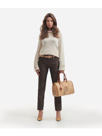 5-pockets trousers with Geo Denim print