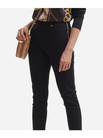 5-pockets scuba trousers with Geo Flock Black