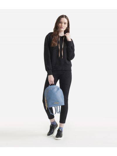Scuba hooded sweater with Geo Flock print Black