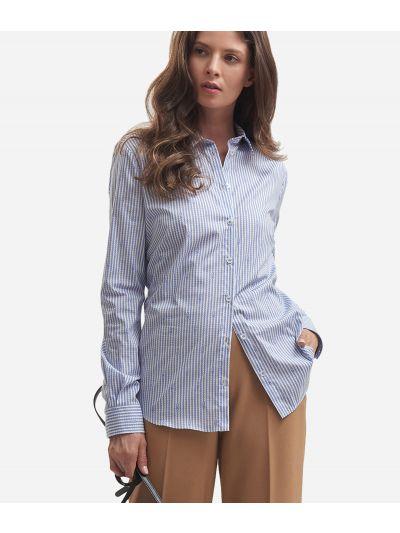 Poplin cotton shirt with chain print White