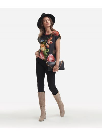 Twill basic top with baroque flower print Black