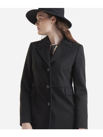 Velour basic coat Black
