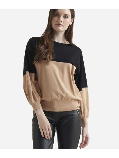 Viscose bicolor sweater Beige