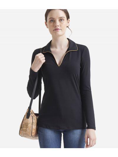 Long sleeves polo Black