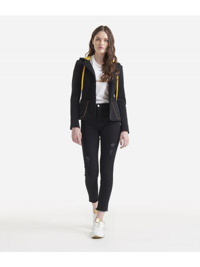 Fleece blazer with hood Black