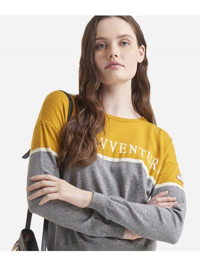 Crewneck sweater with Donnavventura logo Yellow
