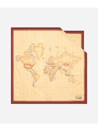 Geo Classic print foulard 70 x 70 Bordeaux