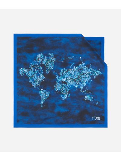 Magic Forest print foulard 70 x 70 Blue