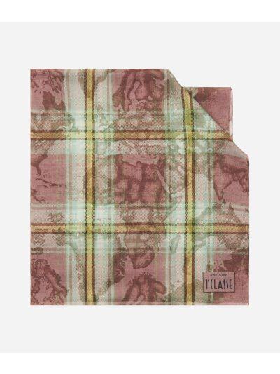 Geo Tartan print scarf45 x 180 Pink