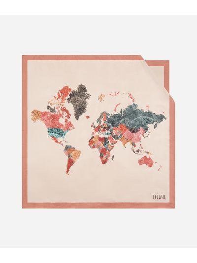 Geo Foglie print foulard 70 x 70 Pink