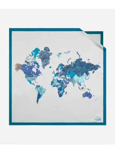 Geo Foglie print foulard90 x 90 Grey