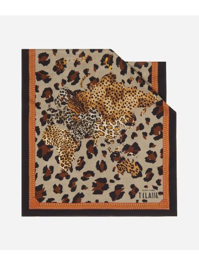 Geo Animalier print scarf45 x 180 Brown