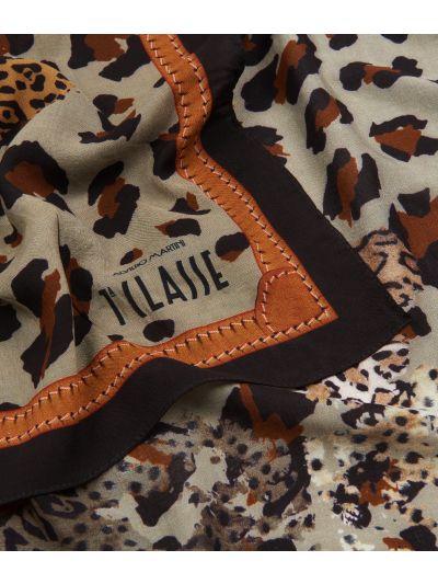 Geo Animalier print foulard 70 x 70 Brown
