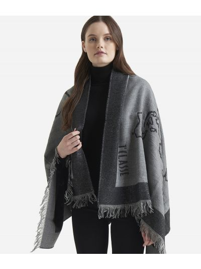 Geo Filetto Lurex print poncho85 x 160 Grey